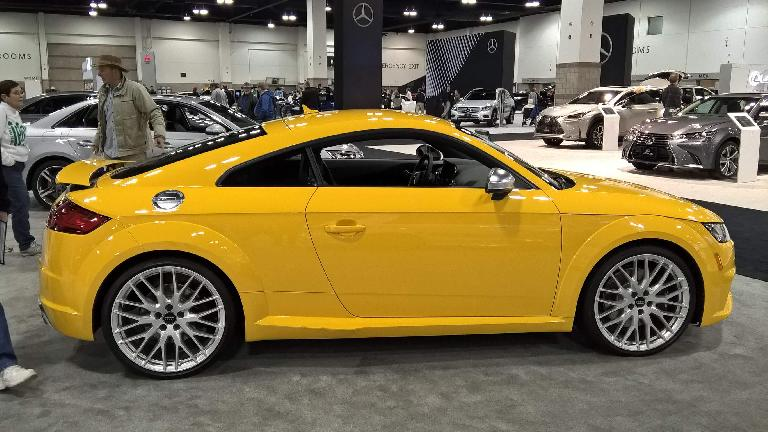 Yellow 2016 Audi TT coupe.
