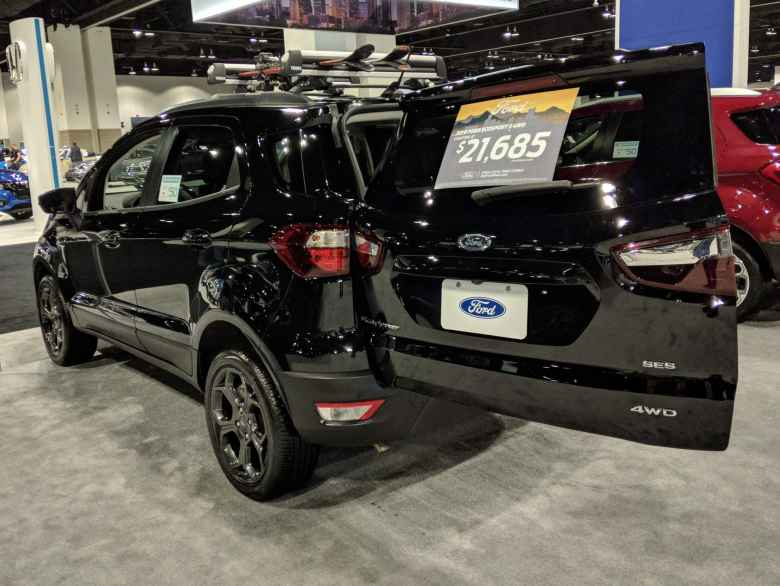 This Ford Ecosport had a rear door that swung open sideways. Good luck opening it in tight parallel parking situations or with a hitch-mounted bike rack attached.