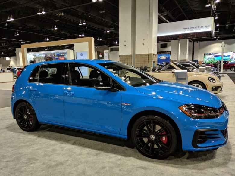 A blue Volkswagen GTI.