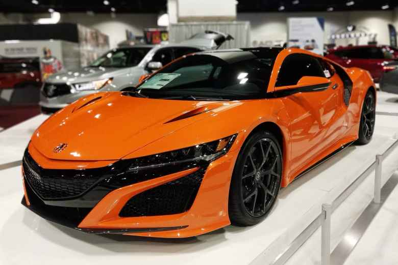 An orange 2019 Acura NSX.