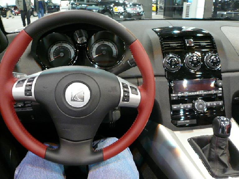 This is the interior of the Saturn Sky, the corporate twin of the Solstice.  Elegant, but not as inspired as the Solstice's.