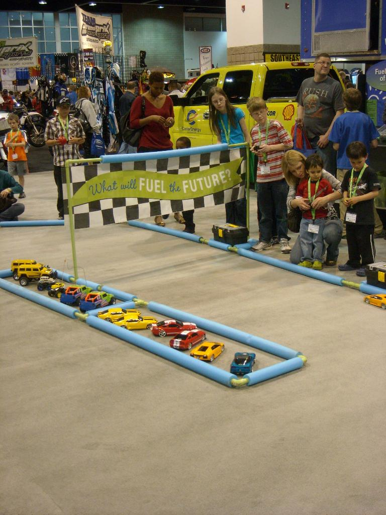 """Kids playing with RC cars in this """"What Will Fuel the Future"""" area."""
