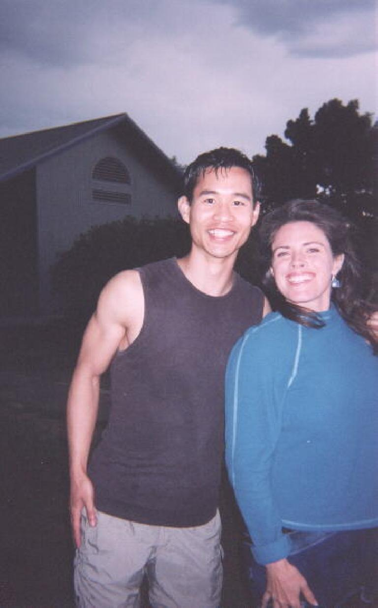 [Boulder] Felix, also after playing volleyball, and Adrienne, who was still as beautiful (and all smiles) as ever! (May 31, 2003)