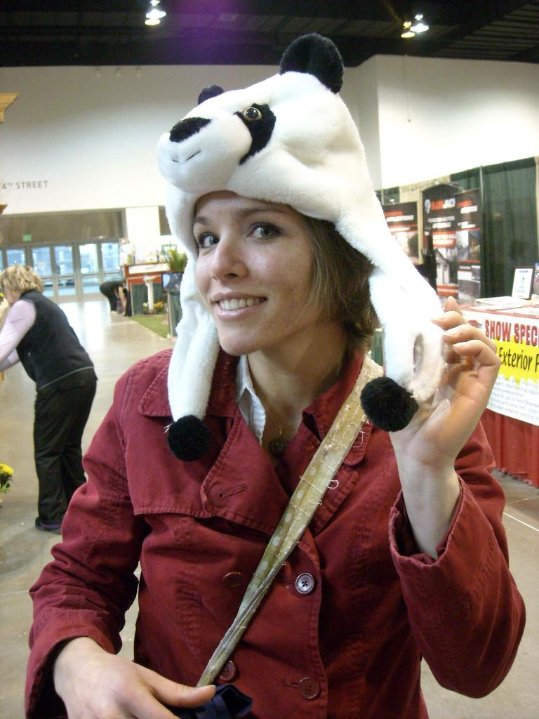 Leah sporting the panda look.