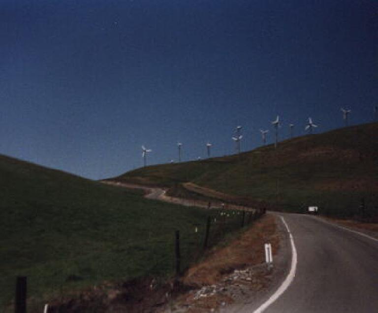 Windmils and green hillsides on Altamont Pass.