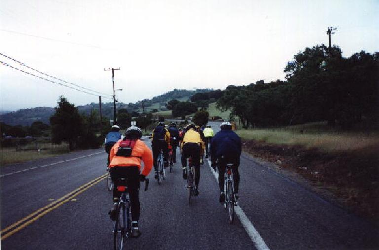 After an hour of riding, there is enough daylight to turn off my lights.  I am still right with the lead pack!