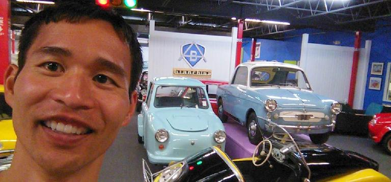 Felix Wong in the micro car room.