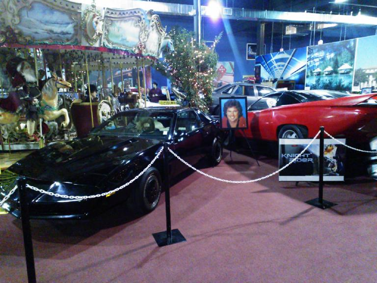 KITT and a Pontiac Banshee concept car as used in the original Knight Rider TV series and one of the Knight Rider movies.