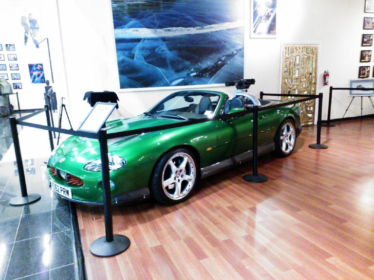 A Jaguar XK8 convertible from one of the Bond movies. Too bad such a beautiful car was painted such a untasteful color.