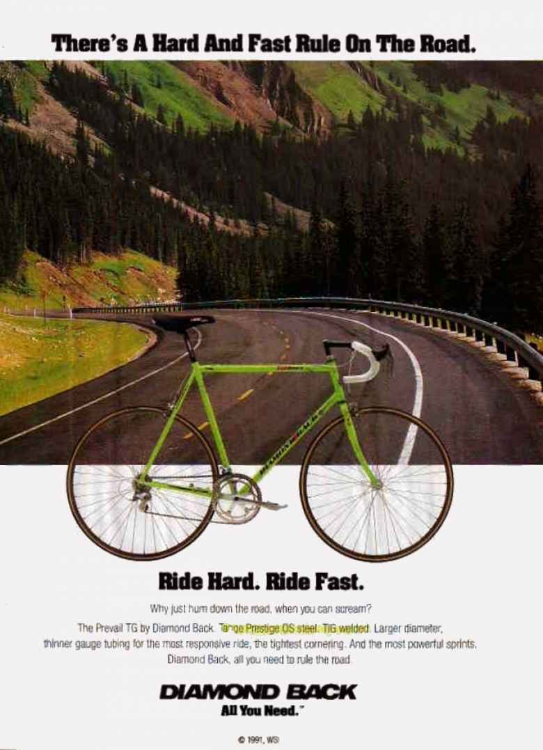 1991 ad for a green Diamond Back Prevail TG road bike