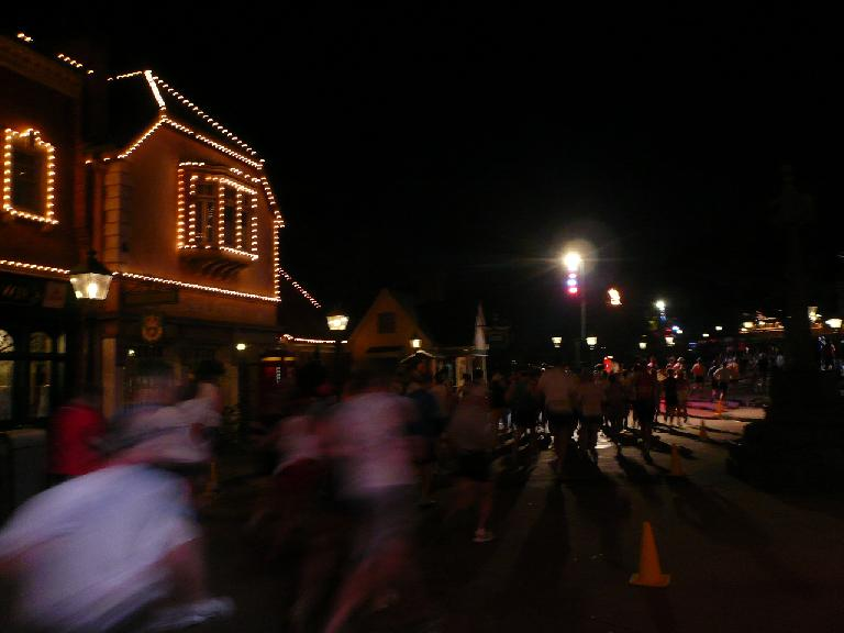 [Mile 2, 6:10 a.m.] Running around the area of the Epcot Center (possibly Ave. of the Stars)?