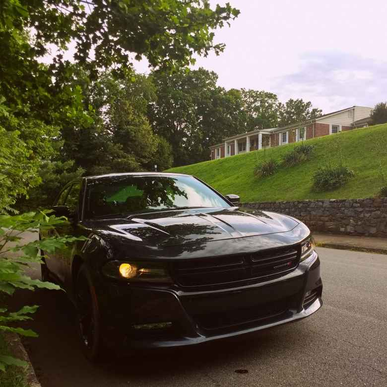 black Dodge Charger R/T, apartment in Asheville, North Carolina.