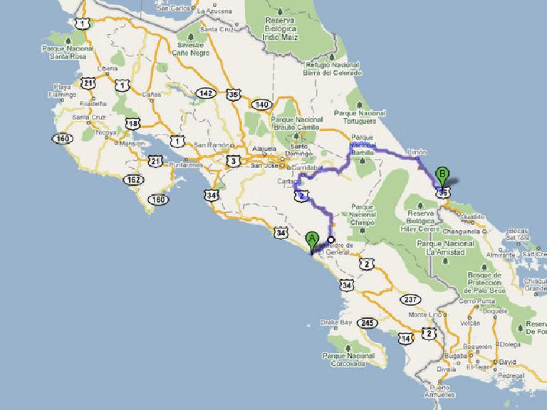 The route we took from Dominical to Costa Rica. (Image: Google Maps)