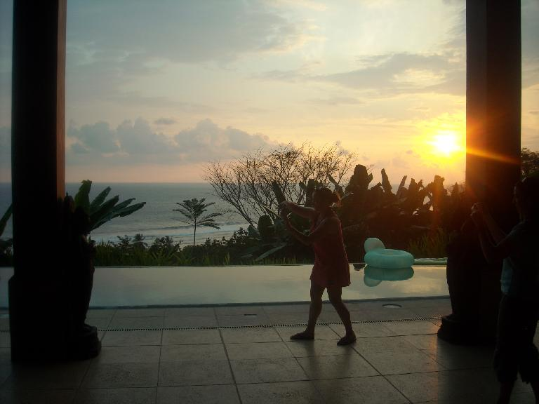 Sunset behind Raquel.