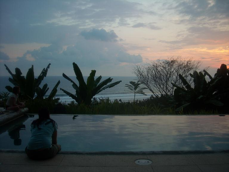 Tori enjoying a nice sunset by the pool. (March 15, 2011)