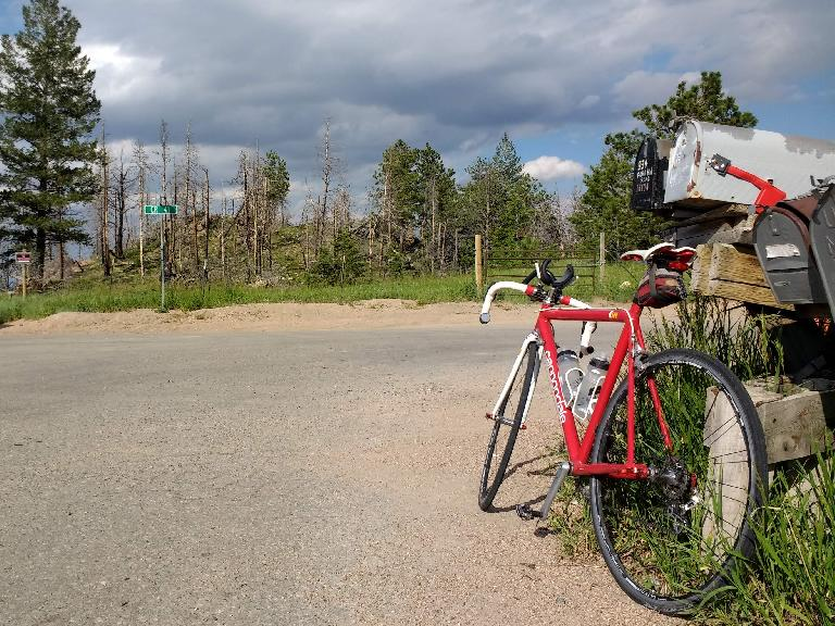 Red Cannondale 3.0 at the top of Rist Canyon for the second time during Felix Wong's double Rist Canyon ride.