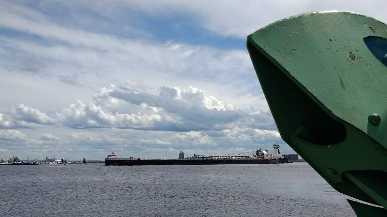 A long ship coming into the harbor in Duluth, Minnesota.