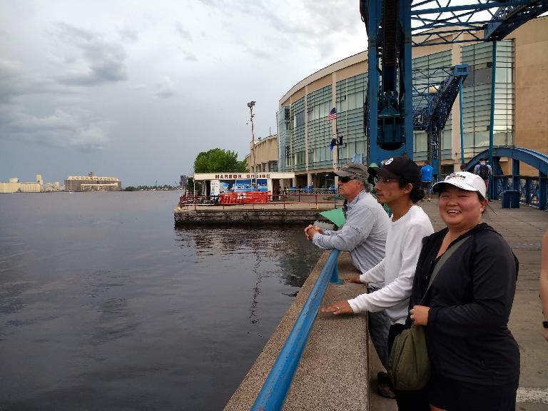 John, Dan, and Kiri gazing at the harbor in Duluth, Minnesota.