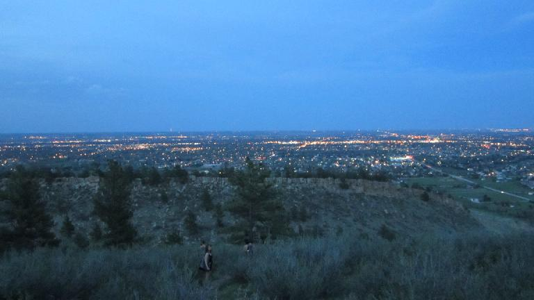 The lights of Fort Collins at dusk.