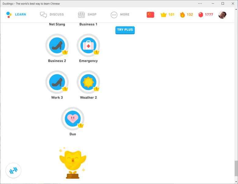 The Chinese skills tree in Duolingo.