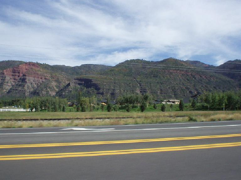 The mountains to the east of Durango.  While green and pretty, they just don't compare to the mountains near Silverton.