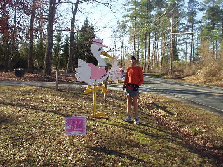 "During a 16-mile run on a beautiful morning in Durham, Dan and I encountered this stork.  ""It's a girl!"" it proclaimed."