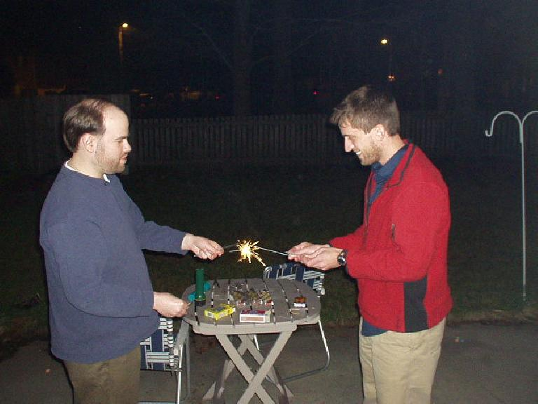 We (well mostly Sam and Dan) then rang in the new year by lighting 15-year-old sparklers and smoke bombs. (December 31, 2005)