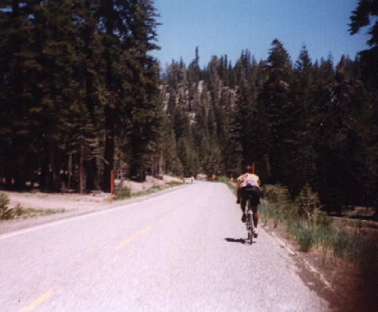 Milo, a cyclist riding a bicycle in 1998 Eastern Sierra Double Century.