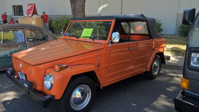 An orange 1974 VW Thing.