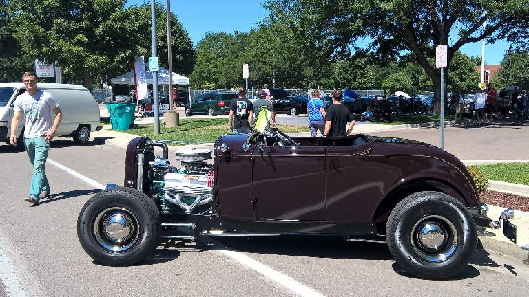 A dark brown 1932 Buice Deuce coupe hotrod roadster.