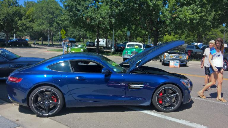 A blue 2014 AMG GTS coupe.