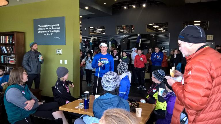 Dan Berlin gives motivational speech to Fort Collins Running Club members, Raintree Athletic Club