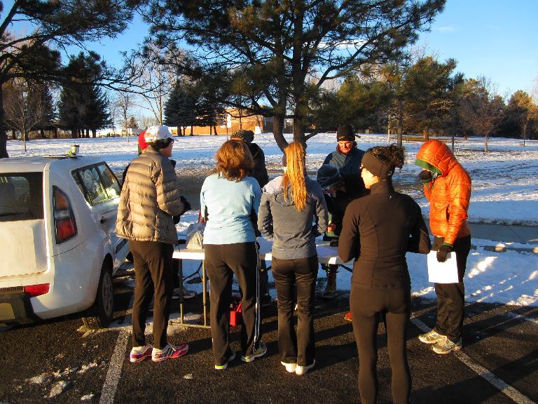 Runners registering for the race.