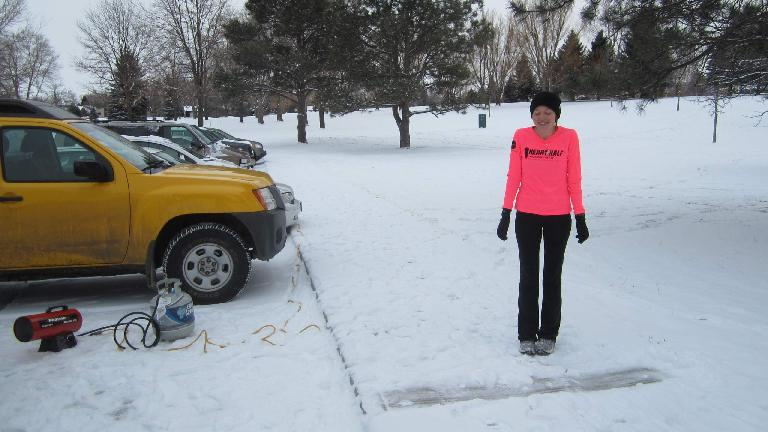 Maureen about to start the Edora Park 8k.  She would end up winning!