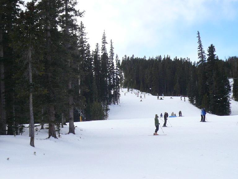 Skiers at the base of the Bunnyfair ski run.