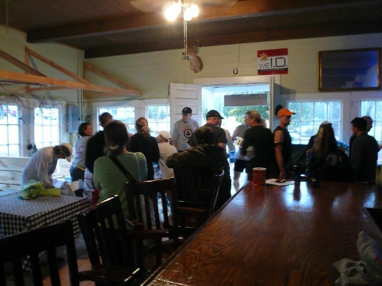 Inside the registration room at the start of the Ellerbe Springs Marathon.