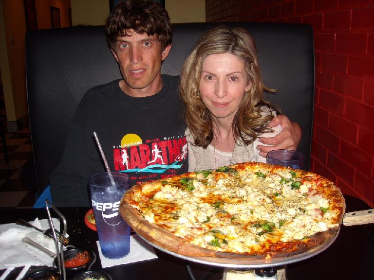 Dan and Susan at Wolfman's Pizza back in Charlotte following the marathon.