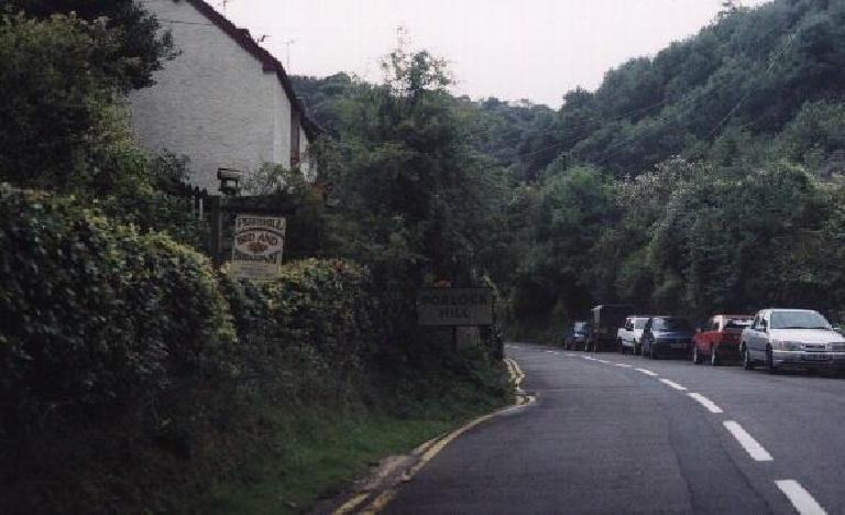 Porlock Hill.  It's steep! (August 15, 2000)