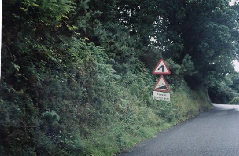25% grade on Porlock Hill! (August 15, 2000)