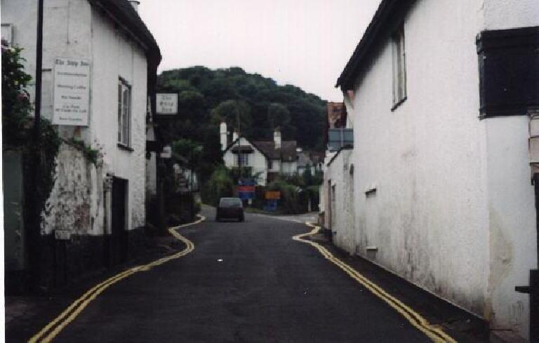 Characteristically narrow village road. (August 15, 2000)