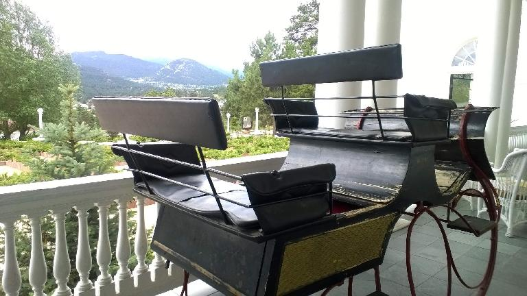 Sleigh on the porch of the Stanley Hotel.