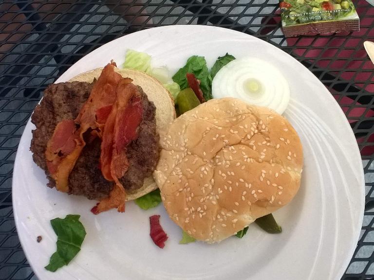 Elk burger at the Wild Rose restaurant in Estes Park.
