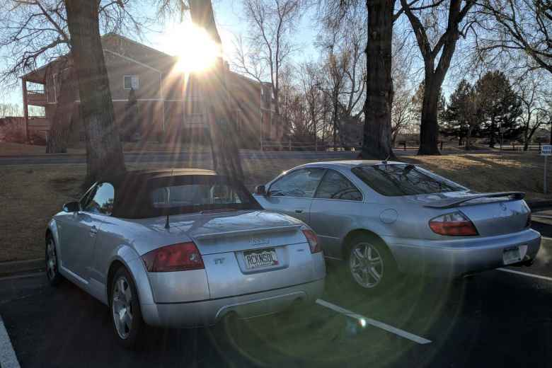 Silver Audi TT Roadster Quattro and Acura CL.