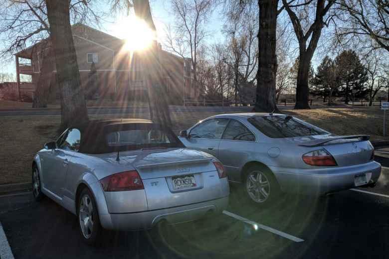 Silver Audi TT Roadster Quattro and Acura CL.