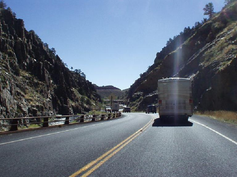 Driving through a rocky canyon along US Route 34 to Loveland.