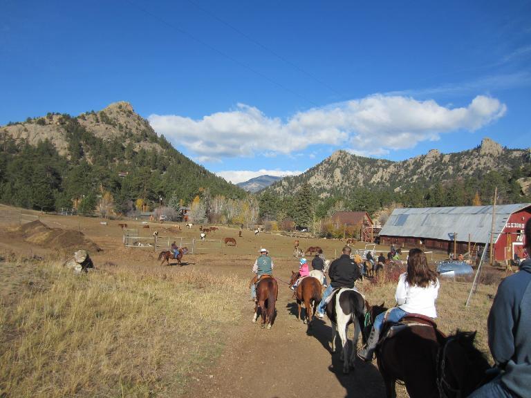 Towards the barn.