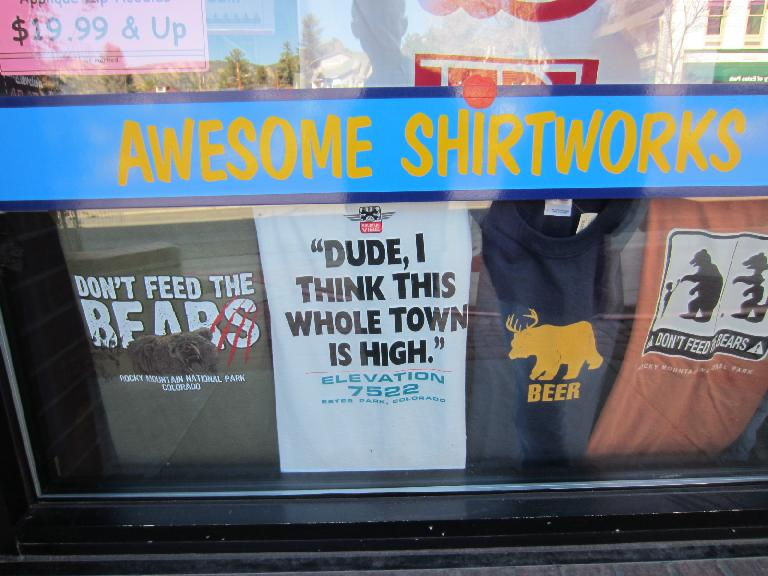 T-shirts about bears and altitude.