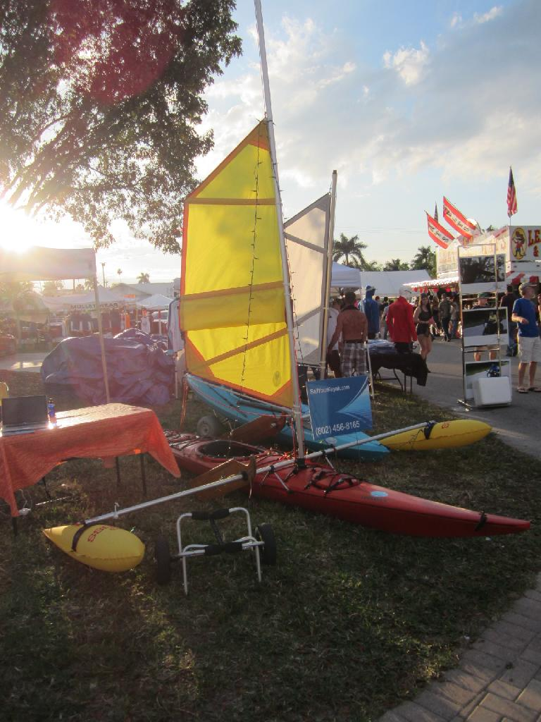 Kayaks with sails at the Everglades Seafood Festival in Everglades City. (February 9, 2013)