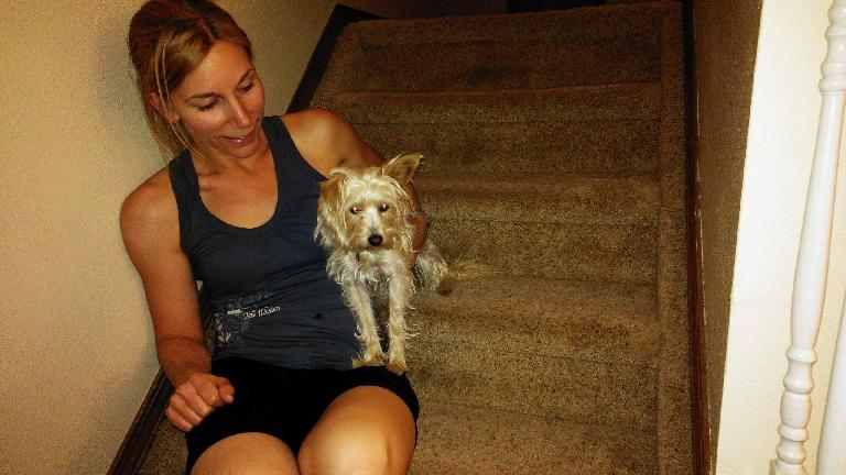Lisa and her new dog Dusty. (June 22, 2013)