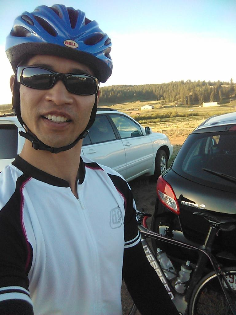 Felix Wong in borrowed clothing, since I had forgotten all my cycling gear at home.